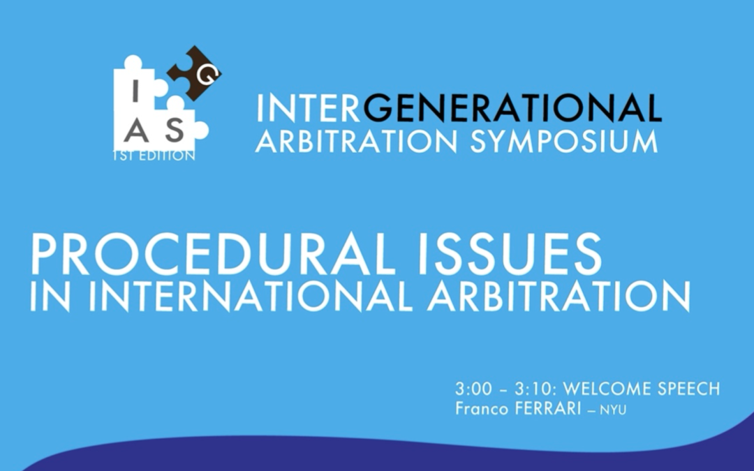 1st ed. online del INTERGENERATIONAL ARBITRATION SYMPOSIUM